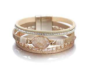 Fesciory Leopard Bracelet for Women Wrap Multi-Layer Leather Bracelet Magnetic Clasp Cuff Bangle Jewelry(Gold Stone(Short))
