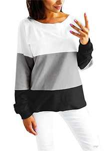 Women's Casual Crew Neck Long Sleeve Shirt Color Block Sweatshirt Blouse Tops (Large, Grey)