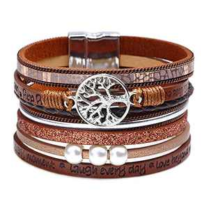Fesciory Leopard Bracelet for Women Wrap Multi-Layer Leather Bracelet Magnetic Clasp Cuff Bangle Jewelry(Tree of Life(Brown))