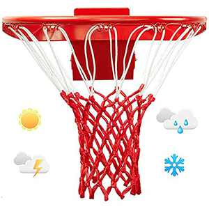 LAO XUE Heavy Duty Basketball Net,Basketball Hoop Net,Basketball Net Replacement,Fits Standard Basketball Net Outdoor or Indoor,All Weather Anti Whip,12 Loops,Red&White
