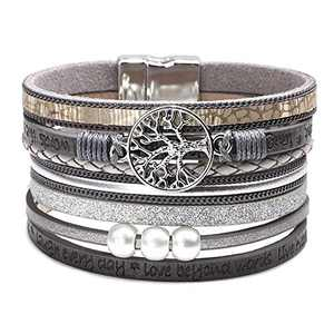 Fesciory Leopard Bracelet for Women Wrap Multi-Layer Leather Bracelet Magnetic Clasp Cuff Bangle Jewelry(Tree of Life(Grey))