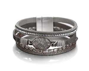Fesciory Leopard Bracelet for Women Wrap Multi-Layer Leather Bracelet Magnetic Clasp Cuff Bangle Jewelry(Grey Stone(Short))