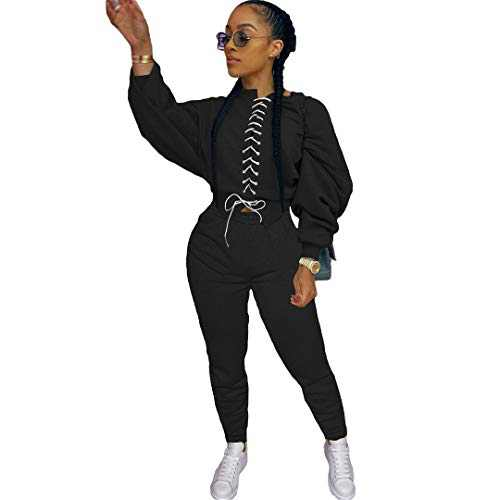 ZJFZML Casual Two Piece Set Autumn Clothes for Women Color Block Spliced Stacked Long Sleeve Crop Top+Sporty Jogger Trouser Sweatsuits Black L