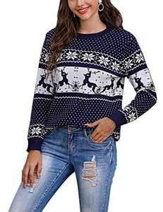 Cogild Women Ugly Christmas Sweater Funny Reindeer Snowman Knit Sweater Pullover