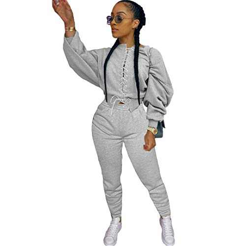 ZJFZML Casual Two Piece Set Autumn Clothes for Women Color Block Spliced Stacked Long Sleeve Crop Top+Sporty Jogger Trouser Sweatsuits Gray S