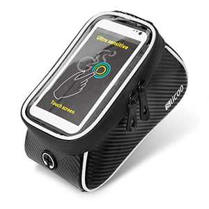 Slicoo Waterproof Bike Bag for Handlebars Bicycle Bag Phone Mount Top Tube Bike Bag Phone Case Holder Cycling Accessories Touchscreen Bike Bag Compatible with iPhone Samsung and Android Phones