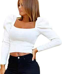 Sofia's Choice Women's Square Neck Crop Top Long Puff Sleeve Slim Fit Ribbed Knit Shirt White M