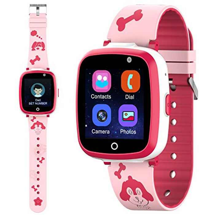 Kids Smart Watch, Kids Smartwatch Digital Camera Watch Supports Phone Call, Games, Music Player, Alarm with IP53 1.54inch Touch TFT for Boys Girls Birthday Electronic Gift
