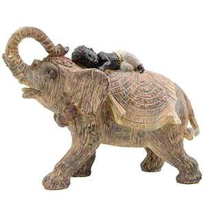 Leekung Elephant Statue Home Decoration,Trunks up Elephant Décor,Child on Back African Elefantes Gift Figurine