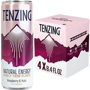 TENZING Natural Energy Drink, Plant Based Drink & Low Calorie & Sustainable, Raspberry & Yuzu, 8.4 Fl Oz (Pack of 4)