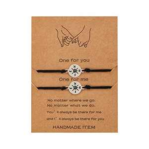 Compass Bracelets Pinky Promise Distance Matching Ajustable Bracelets Sister Jewelry for Women 2 Pieces