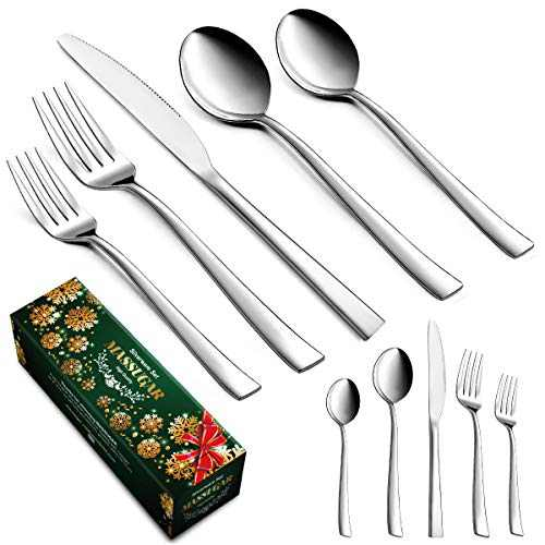 Silverware Set, MASSUGAR 20-Piece Silverware Flatware Cutlery Set, Modern Tableware Utensils Set Service for 4, Include Knife/Fork/Spoon, Mirror Polished, Dishwasher Safe