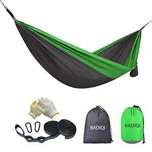 BADIQI Camping Hammock, Double and Single Portable Nylon Parachute Hammock, Suitable for Hiking, Beach, Mountain Climbing, Backyard and Garden (Green+Gray) …