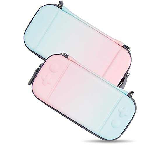 Carrying Case for Nintendo Switch, Portable Hardshell Travel Slim Case for Nintendo Switch/Switch Lite With 8 Game Card Pockets, Inner Soft Fiber Material to Protect The Screen, Blue And Pink Gradient