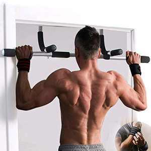 JIRTEMOT Portable Pull Up Bar Pullup Bar Doorway Workout Bar Gym Multi-Functional Strength Training Equipment Chin Up Dip Up Bars