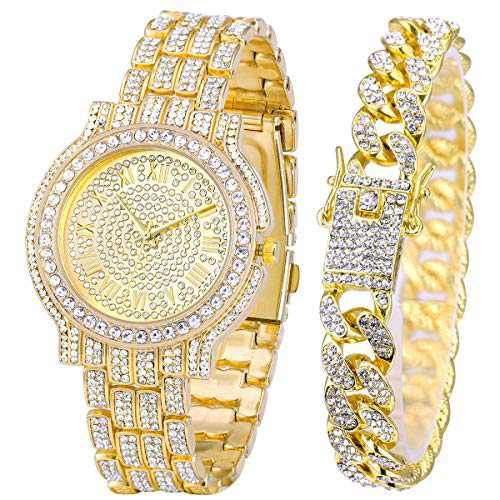 Men's Iced Out Watch - Bling-ed Out Gold Diamond Watch with Quartz Movement Crystal Rhinestone Diamond for Men - Adjustable Rolly for Hip Hop