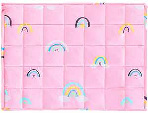 Joyching Weighted Lap Pad for Kids Pets 20 x 30 inches, 3lbs 600TC Egyptian Cotton Weighted Blanket for Reading with Glass Beads Pink Rainbow