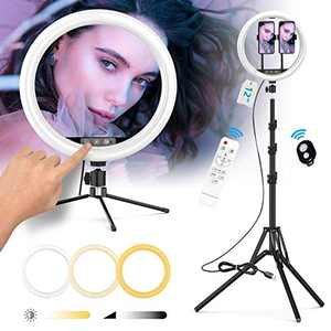 "MEETTOP 12"" Touch & Remote Selfie Ring Light with Tripod Stands and 2 Phone Holders Dimmable LED Ring Light with Bluetooth Remote and Lamp Remote Controller, for YouTube/Live Stream/Makeup/Photography"