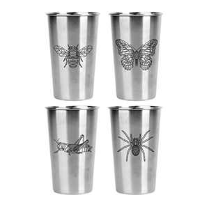 Magic Pine Stainless Pint Cups, Bugs (Set of 4)