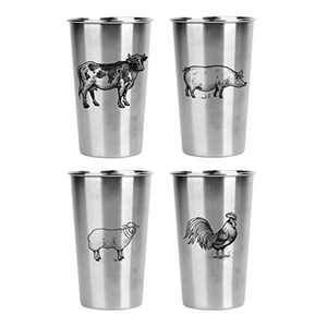 Magic Pine Stainless Pint Cups, Farm Animals (Set of 4)