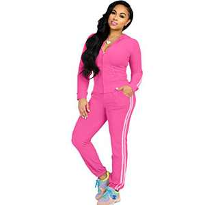 ZJFZML Autumn New Women Zipper Long Sleeve Hooded Tops Pockets Sport Legging Sweatpant Casual Workout Bodycon Stretchy Outfit Tracksuit Rose M