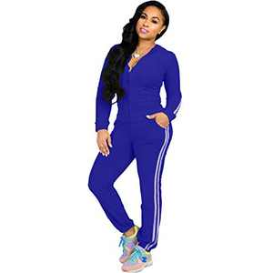 ZJFZML Autumn New Women Zipper Long Sleeve Hooded Tops Pockets Sport Legging Sweatpant Casual Workout Bodycon Stretchy Outfit Tracksuit Blue XL