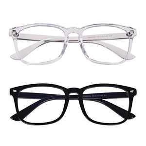 2-Pack Blue Light Blocking Glasses, Anti Eye Strain Square Transparent Lens Computer Glasses for Women/Men (Bright Black + Transparent)