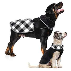 QBLEEV Reversible Dog Vest,Windproof Fleece Dog Winter Jacket for Small Medium Large Breeds,Warm Plaid Winter Coat with Harness Hole for Girl Boy Dog,Cozy Pet Cold Weather Clothes with Furry Collar