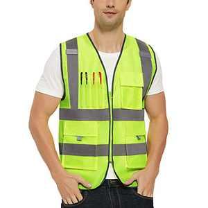 VICRR High Visibility Safety Vest with Reflective Strips, 9 Pockets Zipper Front, Construction Work Vest