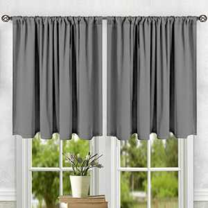"LEMOISTARS Kitchen Tier Curtains Print Half Window Kitchen Cafe Bathroom Curtains Rod Pocket Small Short Curtain, 27"" W x 36"" L, 2 Panels"