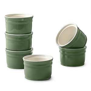 DOWAN Ramekins, Porcelain Ramekins 8 oz Oven Safe, Ramekins for Creme Brulee, Souffle Ramekins for Christmas, Souffle Dishes Custard Cups Dessert Bowls for Pudding, Green Ramekins for Baking