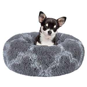 INVENHO Orthopedic Dog Bed Cat Bed for Small Medium Dogs Pet Bed Donut Cuddler Round Soft Calming Bed, Self Warming and Washable Sleeping Bed (16-Inch, Light-Gray White