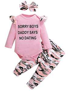 Shalofer Baby Girl Sorry Boys Daddy Says No Dating Romper Toddler Camouflage Outfit Set with Headband (Pink01,6-12 Months)