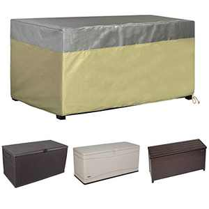 Jorohiker Patio Deck Box Storage Bench Cover, Outdoor Waterproof Deck Box Cover with UV Protected Heat Shield 600D Polyester, for Keter/Lifetime/Suncast/Rubbermaid Deck Box