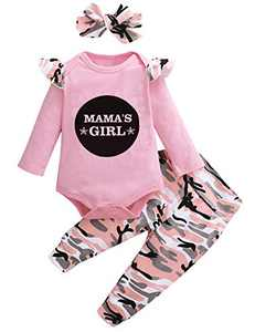 Shalofer Baby Girl Mama's Girls Clothes Set Newborn Camouflage Pant Set with Headband (Pink,0-3 Months)