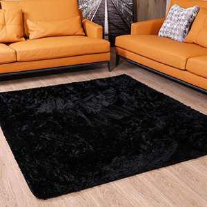 Soft Shag Rug Comfy Black Shaggy Rug for Bedroom Fluffy Area Rugs for Living Room Non-Slip Nursery Rug for Kids Room Decor,4x5.3 Feet, CIICOOL