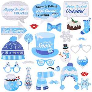 27 Pieces Snowflake Holiday and Winter Christmas photo booth props Kit, Winter Wonderland Party Decorations for Winter/Wedding/Xmas/Holiday Party Supplies