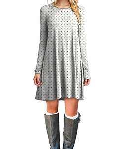 Cotton Simple Casual Dresses Rust Modern Tunic for Women Top Gray Dot Black XL