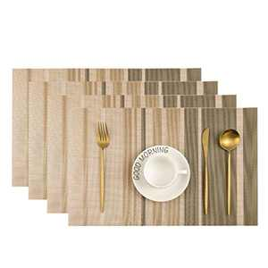 Leetaltree Placemats, 18''x12'' Vinyl Woven Insulation Anti-Skid Placemat Washable Table Mats Set of 4 (Beige-Stripes)
