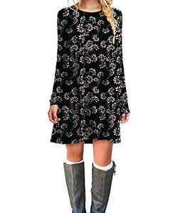 Plaid Plus Long Sleeve Dress Modern Simple T-Shirt Juniors Swing Black Flower L