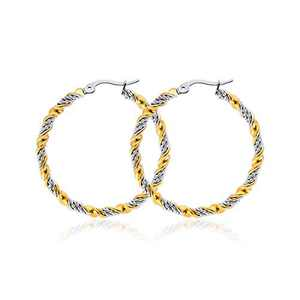 Gold Hoop Earrings For Women,14k Gold Plated Stainless Steel Earring For Girls,Two-Tone Gold And Silver Hypoallergenic Earings Jewelry Gift