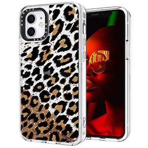 MOSNOVO Luxury Glitter Liquid Gold Sparkle Leopard Print Pattern Designed for iPhone 12 Mini Case 5.4 Inch - Clear