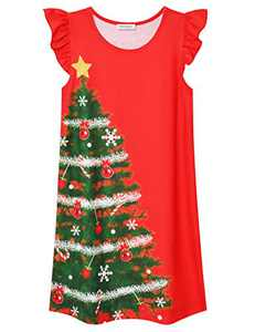 Toddler Girls Cotton Night Gowns Christmas Sleepwear Comfy Pajamas Flutter Sleeve Nightdress 8 9