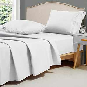 Minoroty 1800 TC Queen Bed Sheets Set 4 Piece Soft Silky Microfiber Hotel Cooling Bamboo Alternative Sheets Breathable, Wrinkle, Fade Resistant Deep Pocket,White