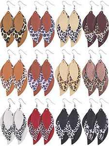 12 Pairs Leopard Printed Faux Leather Earrings 3 Layered Leather Drop Earrings Lightweight Leaf Dangle Earrings Jewelry