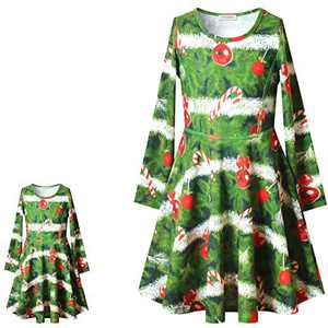 Perfashion Girls Matching Doll Xmas Tree Dress 18 inch Doll Outfits Winter Holiday Clothes Fall Dress 4t 5t