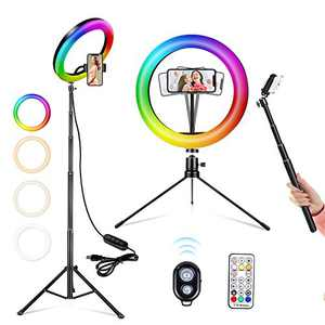 "A-TION 10"" RGB Selfie Ring Light, 26 RGB Colors LED Ring Light with Two Tripod Stand & Phone Holder, Camera Remote Shutter, for Makeup, YouTube, TikTok, Video, Photography"