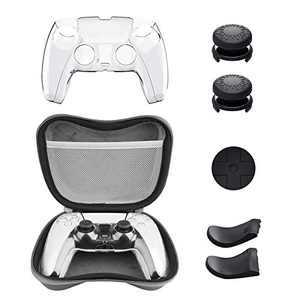 Accessories for PS5 DualSense Wireless Controller, KIWIHOME Carrying Case with Protective Controller Skin Cover, Thumb Stick Caps, Trigger Extensions & D-Pad Cap for Playstation 5 Controller