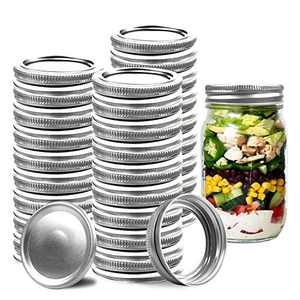 Regular Mouth Mason Canning Lids - 24 Count Jar Lids and 24 Count Bands - Split-Type Lids Leak Proof Airtight Secure - Perfect For Long-term Food Storage (70mm, Regular Mouth)