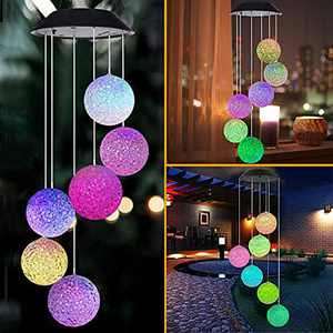 Solar Wind Chimes, Crystal Ball Wind Chimes for Decoration Outdoor Indoor, Waterproof Wind Chime for Home/Party/Yard/Garden Decoration, Gifts for Mom, Wife, Grandma, Christmas (Crystal Ball)